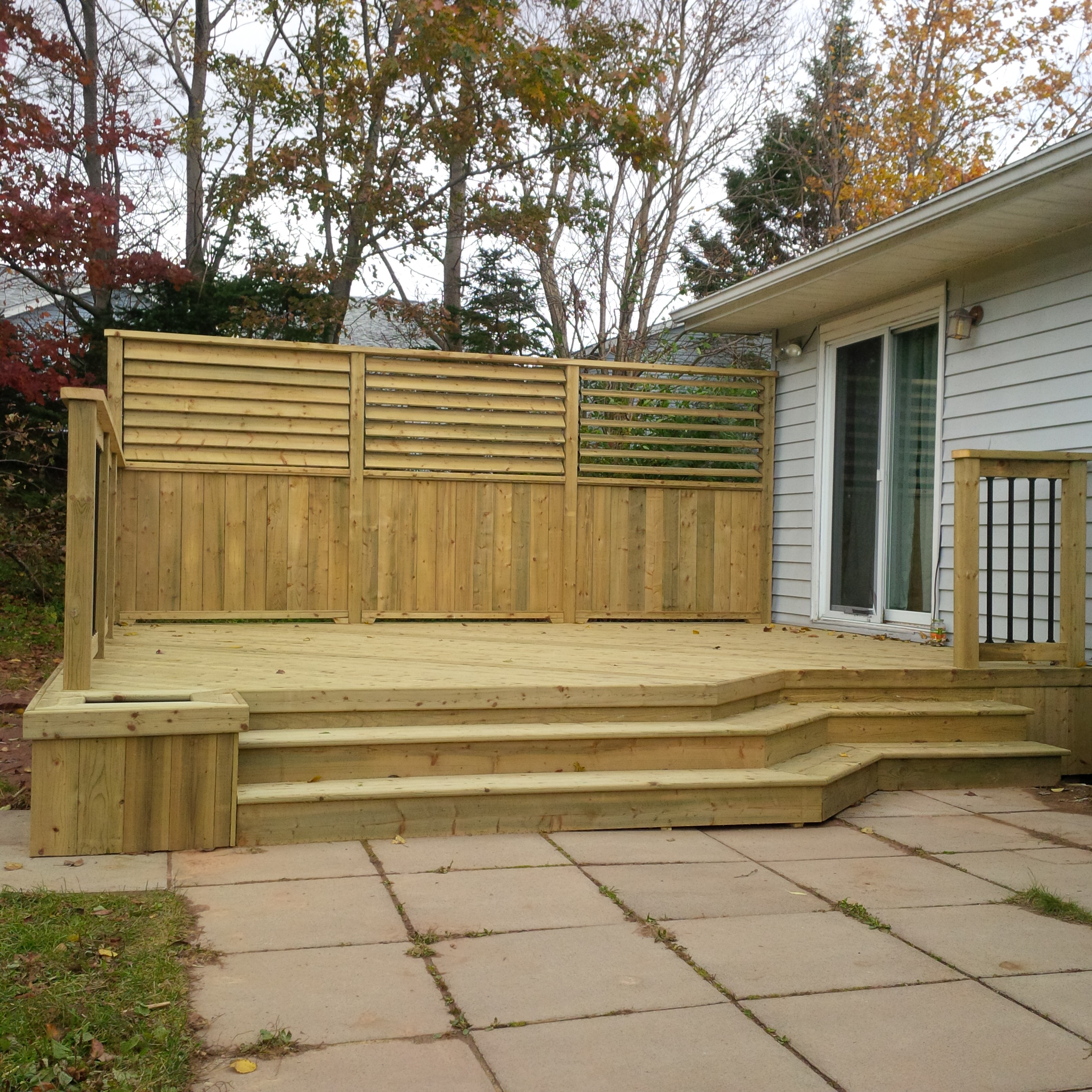 Pressure treated deck with decorative louvers halifax decks for Pressure treated decking