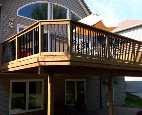 custom deck with railing