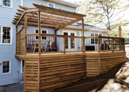 custom wooden deck with pergola in Halifax