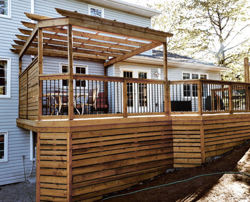 custom wooden deck with pergola in Halifax